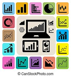 grafico, set, affari, icona