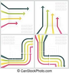 grafico, set, colorito, frecce, concetto, fondo, bianco