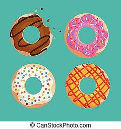 grafico, set, donuts, isolato, vettore, sfondo verde