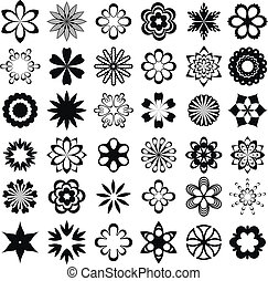 grafico, set, fiore, elementi
