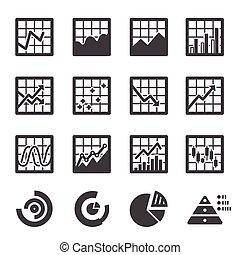 grafico, set, icona