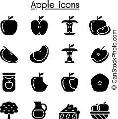 grafico, set, mela, illustrazione, vettore, disegno, icona