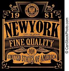 grafico, slogan, camicia, vendemmia, vettore, disegno, york...