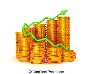 grafico, sopra, guadagni, monete, accatastare, verde, ...
