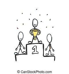 grafico, stickman, cup., mano, place., campione, win., cartoon., vettore, illustrazione, oro, primo, schizzo, sport, drawn., concorrenza, medaglia, winner., scarabocchiare