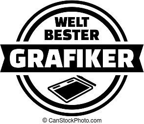 grafico, tedesco, artist., mondo, button., meglio