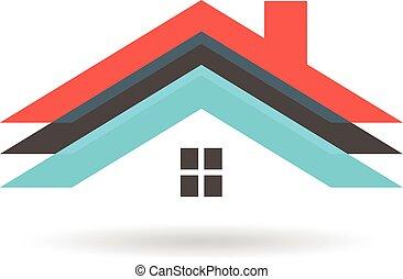 grafico, tetto, case, vettore, disegno, logo.