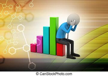 grafico, uomo, finanziario, affari, seduta