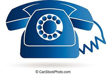 grafico, vecchio telefono, rotante, vettore, disegno, retro, logo.