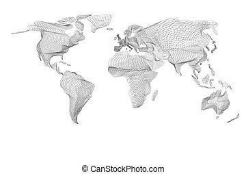 grafico, vendemmia, astratto, map., computer, nero, mondo, linee