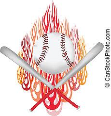 grafico, vettore, baseball, fiammeggiante