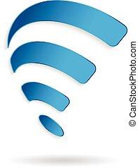 grafico, wifi, simbolo., fili, vettore, swoosh