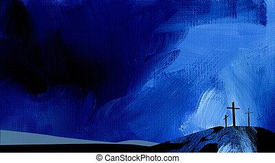 graficzny, abstrakcyjny, tło, kalwaria, krzyż, błękitny