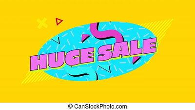 graficzny, błękitny, sprzedaż, różowe tło, 4k, owal, żółty, ogromny