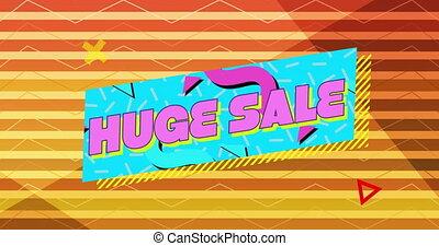 graficzny, błękitny, sprzedaż, różowe tło, pomarańcza, 4k, pasiasty, chorągiew, ogromny
