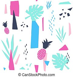 graficzny, collage, pattern., seamless, papier, modny, design.