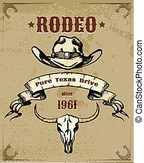 graficzny, czaszka, themed, kowboj, rodeo, kapelusz