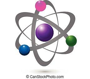 graficzny, elektron, wektor, atom, molekularny, ikona