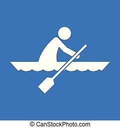 graficzny, figura, kajak, symbol, ilustracja, wektor, sport