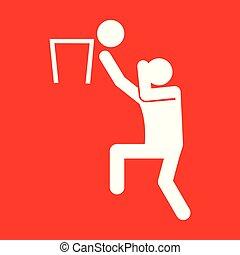 graficzny, figura, symbol, ilustracja, wektor, koszykówka, sport