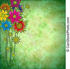 graficzny, grunge, barwny, akwarela, tło, kwiaty