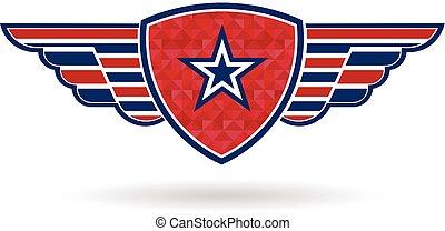 graficzny, gwiazda, tarcza, wektor, projektować, logo., skrzydełka