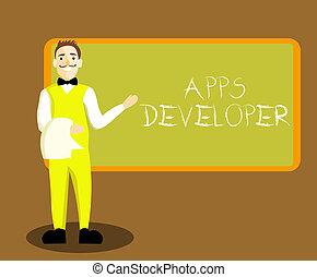 graficzny, handlowy, developer., artysta, fotografia, pokaz, apps, pisanie, konceptualny, eksperci, showcasing, programista, ręka, analityk, software