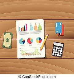 graficzny, handlowy, pieniądze, kalkulator, praca, papier, kredyt, wektor, pancil, uważając, dokument, karta