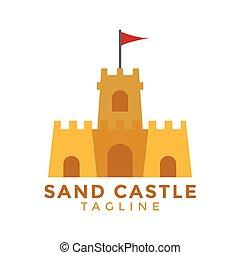 graficzny, ilustracja, element, piasek, wektor, projektować, zamek