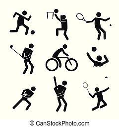 graficzny, komplet, figura, symbol, ilustracja, wektor, sport