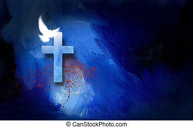 graficzny, krzyż, i, gołębica, z, obryzgać, od, krew