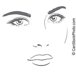 graficzny, look., młody, twarz, przyjacielski, kobieta, odpoczynek, rysunek