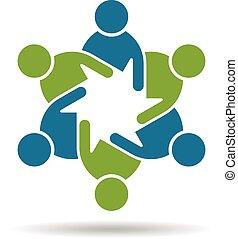 graficzny, ludzie, teamwork, 6, gro, logo.
