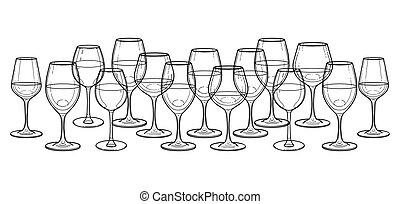 graficzny, odizolowany, tło, wino, biały, hałas, okulary