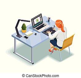 graficzny projektodawca, isometric, ilustracja
