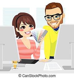 graficzny projektodawca, teamwork