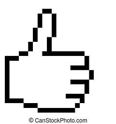 graficzny, -, ręka, kciuki, up!, pixel