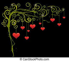 graficzny, romansowy abstrakt, hearts., tło, projektować, czerwony