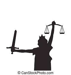 graficzny, sprawiedliwość, ilustracja, element, wektor, projektować, dama