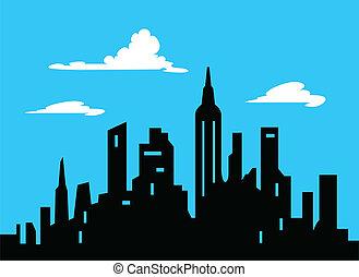 graficzny, styl, rysunek, miasto skyline