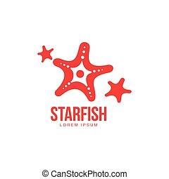 graficzny, sylwetka, rozgwiazda, trzy, stylizowany, szablon, logo, uproszczony