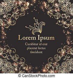 graficzny, tło, złoty, florals