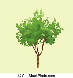 graficzny, wielobok, liście, drzewo, wektor, zielony