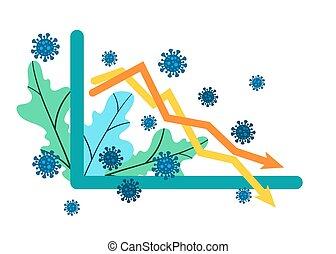 grafiek, abstract, financieel, vector, business., twee, falling., het vallen, pandemic., performance., coronavirus, omzet, infographics, curves.