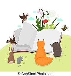 grafiek, book., dieren, lezende , vector