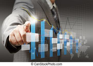 grafiek, diagram, zakenman, beroeren, tabel, feitelijk, hand