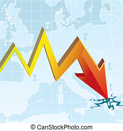 grafiek, economisch, crisis