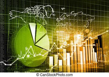 grafiek, economisch, markt, liggen