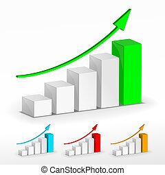 grafiek, groei, set