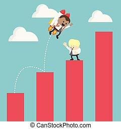 grafiek, het stijgen, raket, succes, zakenman